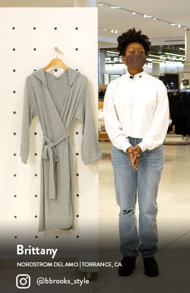 Waffle Knit Hooded Robe with Side Slits, sales video thumbnail