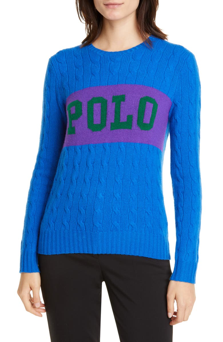 POLO RALPH LAUREN Cable Logo Colorblock Wool & Cashmere Sweater, Main, color, 405