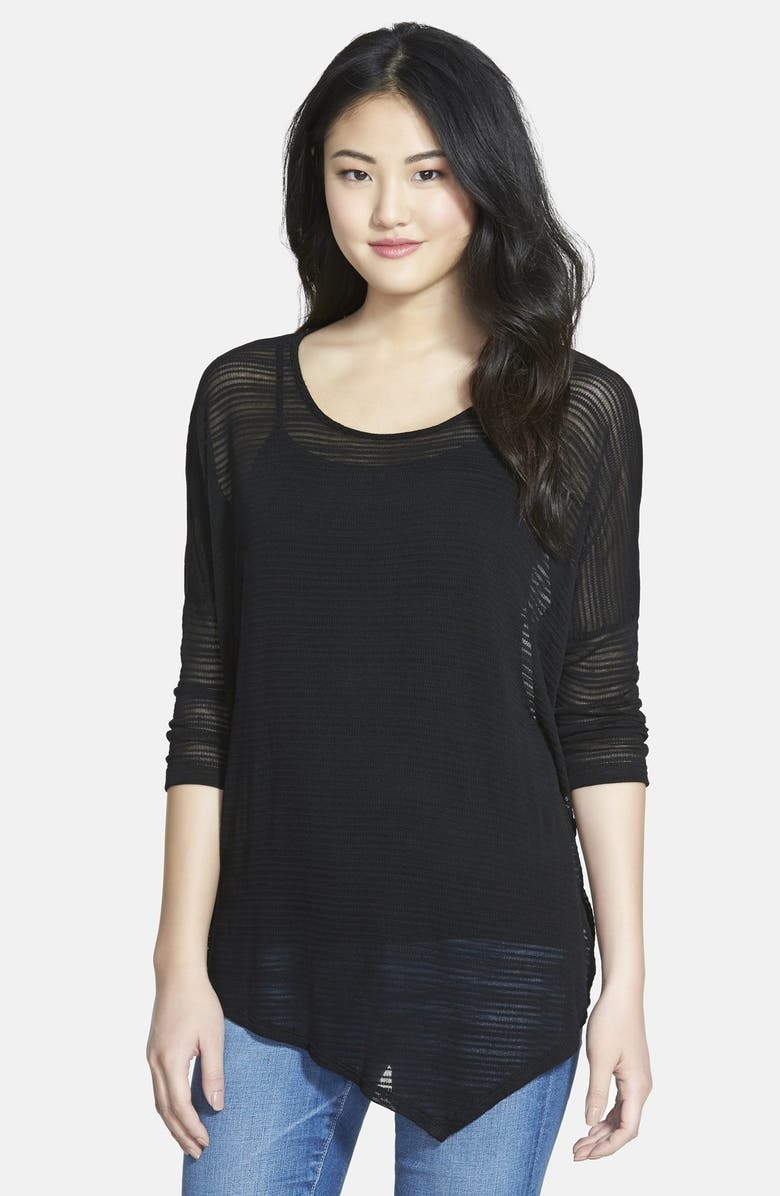 BOBEAU Asymmetrical Shadow Stripe Tee, Main, color, 001