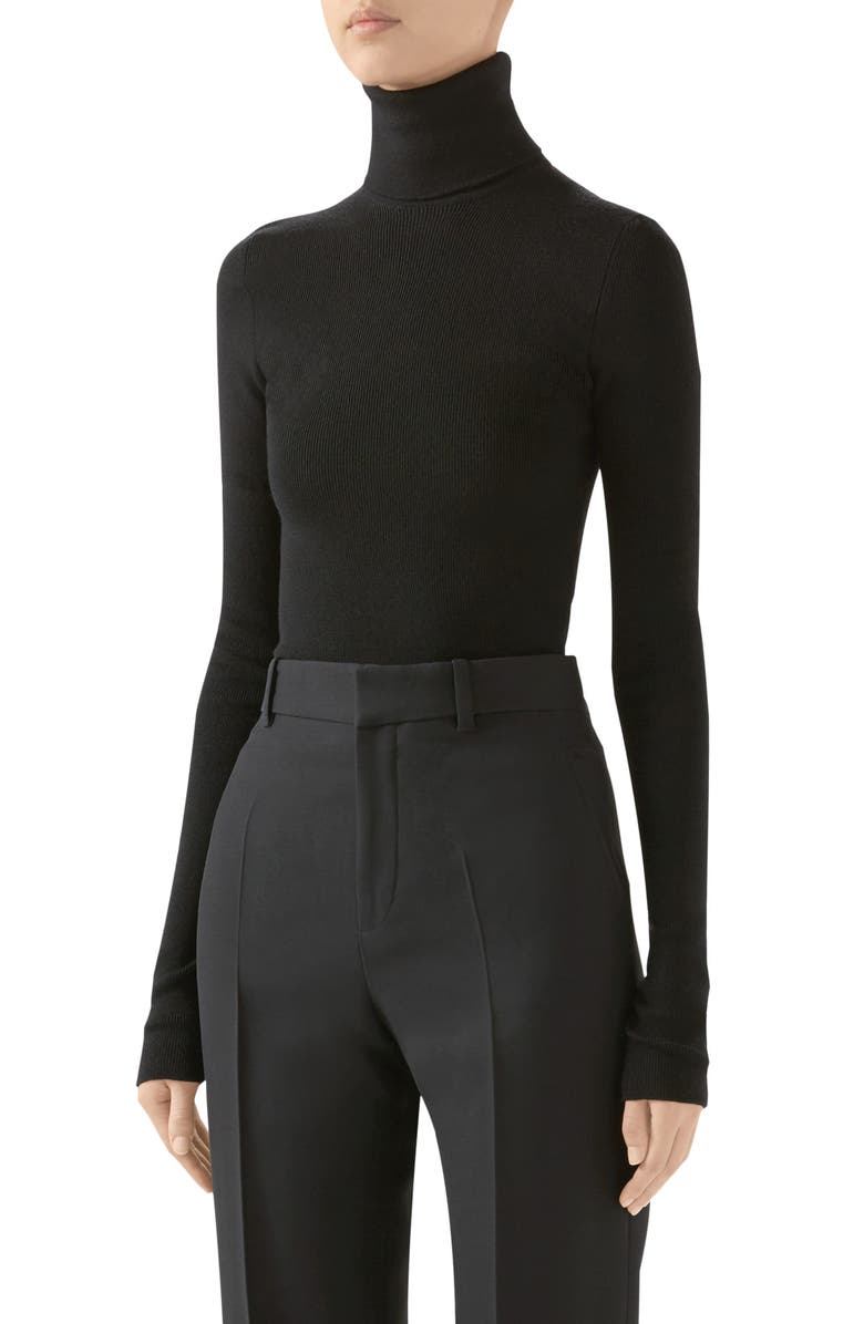 GUCCI Ribbed Wool Blend Turtleneck Sweater, Main, color, BLACK