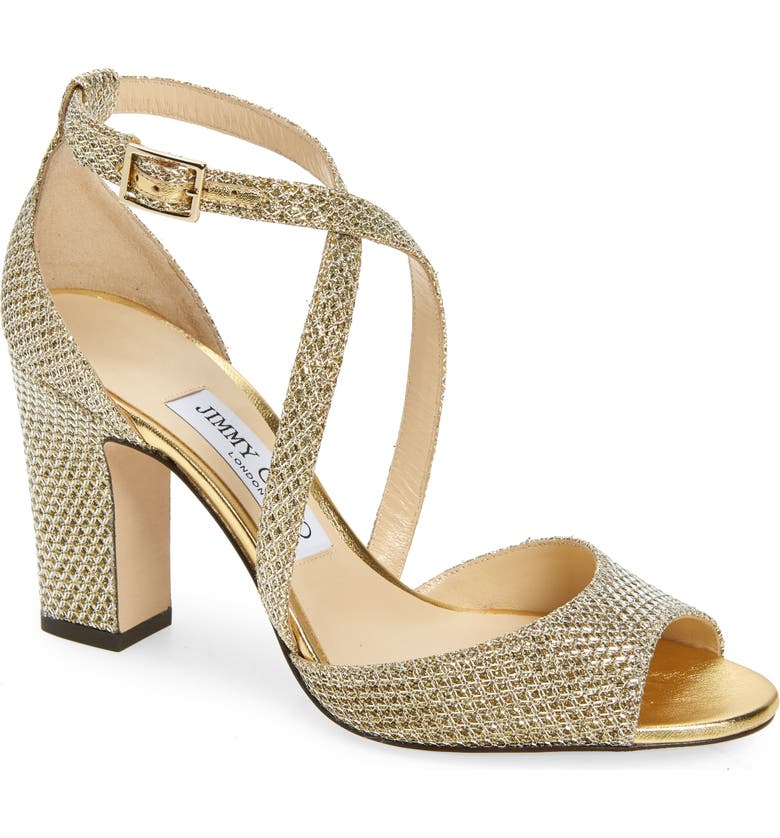 JIMMY CHOO Carrie Shimmer Sandal, Main, color, CHAMPAGNE
