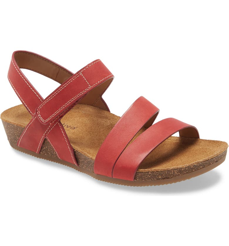 COMFORTIVA Gardena Strappy Sandal, Main, color, RED LEATHER