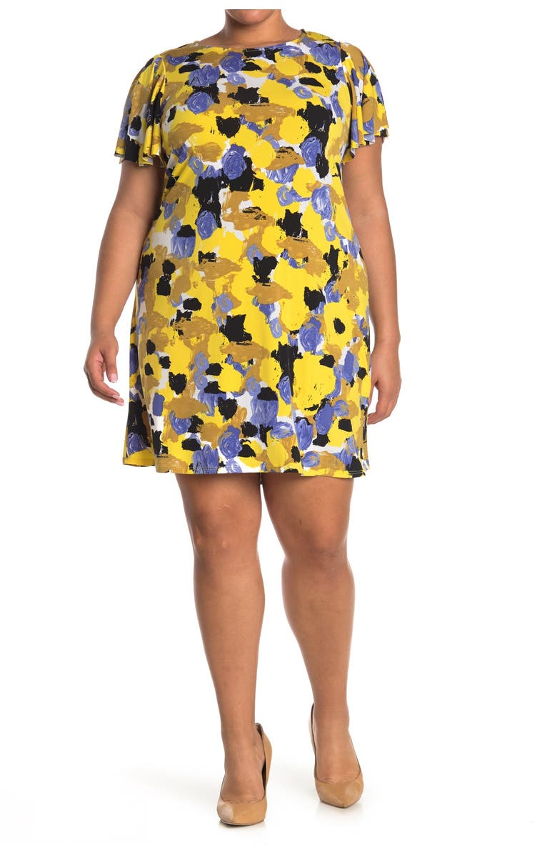 TASH AND SOPHIE Printed A-Line Dress, Main, color, YELLOW MUL