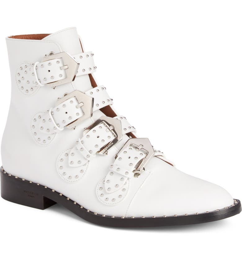 GIVENCHY Prue Studded Buckle Bootie, Main, color, WHITE