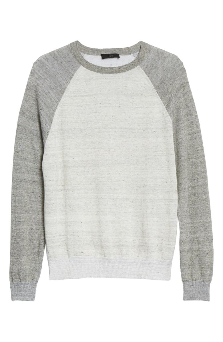 VINCE Linen Blend Baseball Sweater, Main, color, HEATHER WHITE/HEATHER GREY