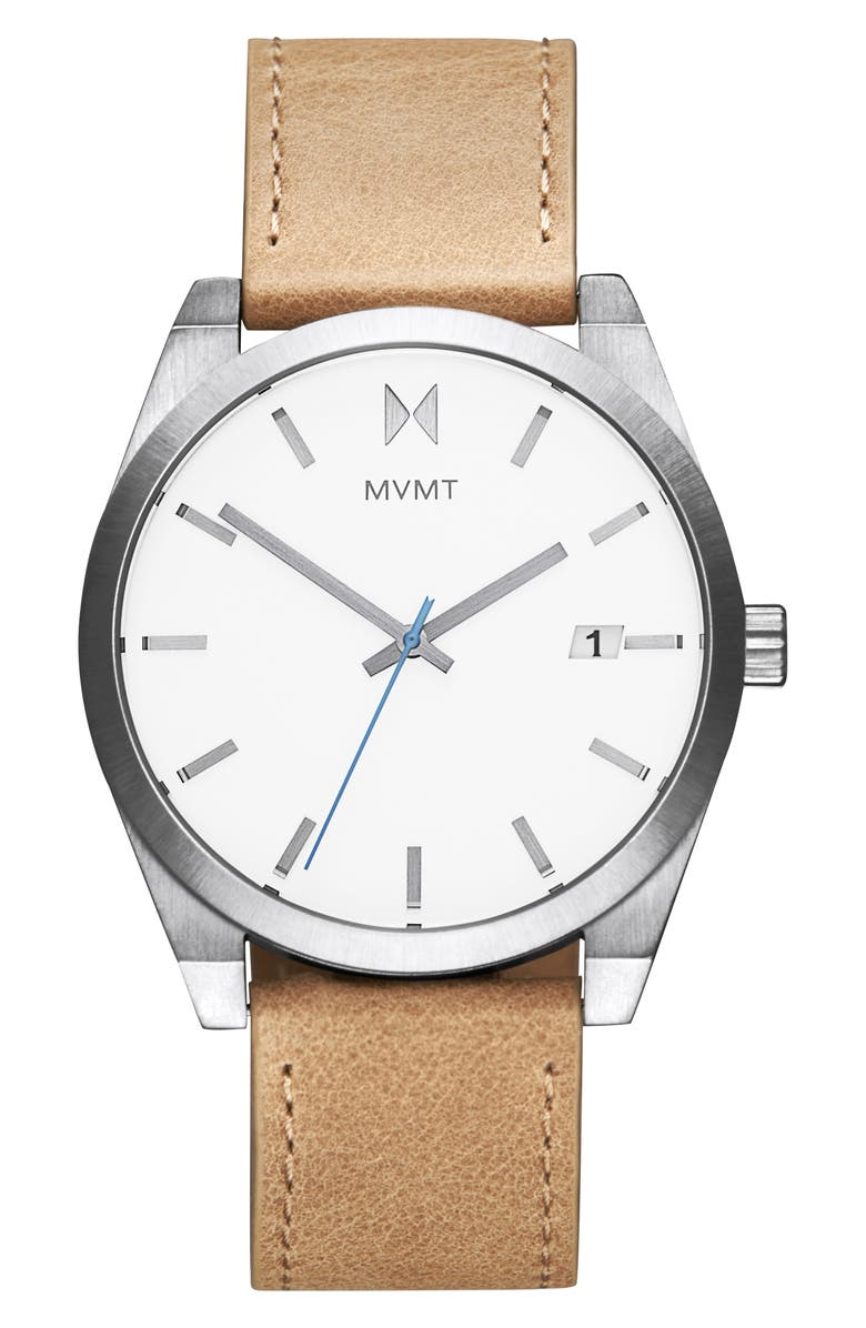 MVMT Element Leather Strap Watch, 43mm, Main, color, BROWN/ SILVER