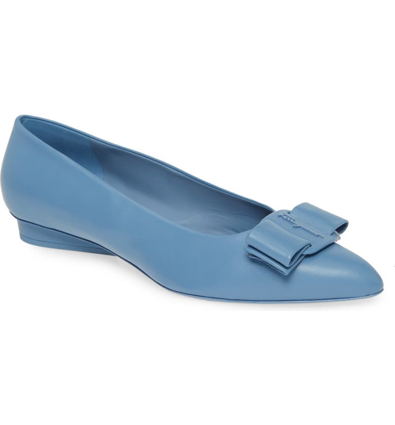 SALVATORE FERRAGAMO Viva Bow Ballet Flat, Main, color, CHAMBRAY