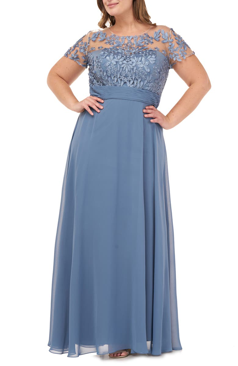 JS COLLECTIONS Floral Embroidered Chiffon Gown, Main, color, MINERAL BLUE