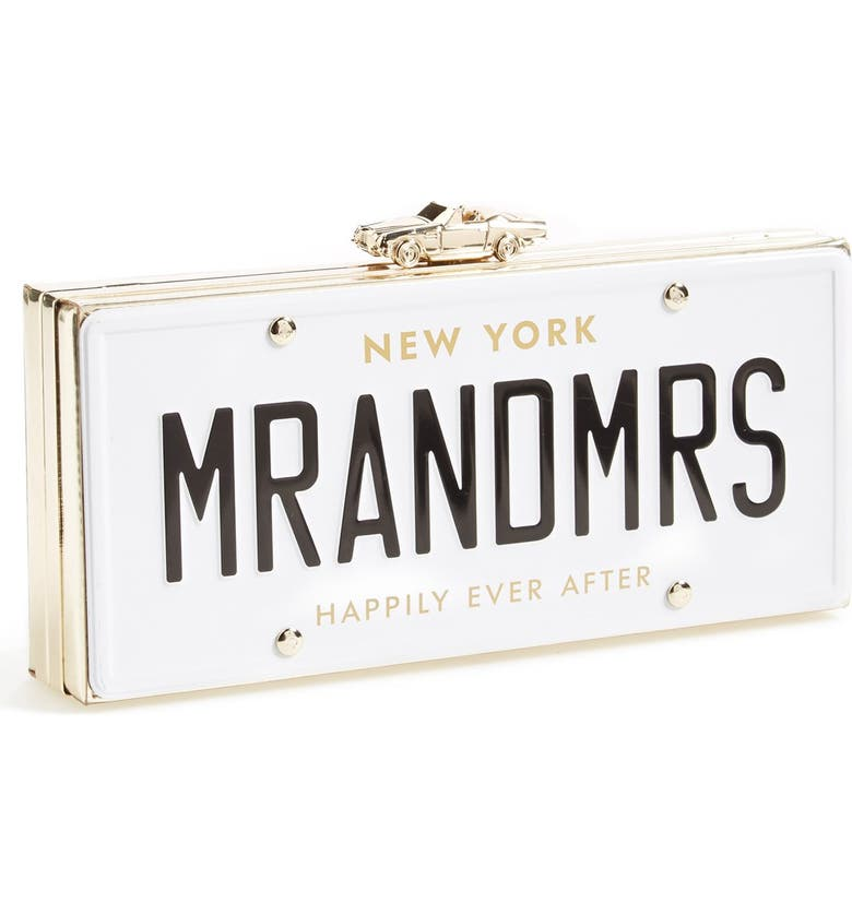 KATE SPADE NEW YORK 'mr. and mrs. - happily ever after' license plate box clutch, Main, color, MULTI