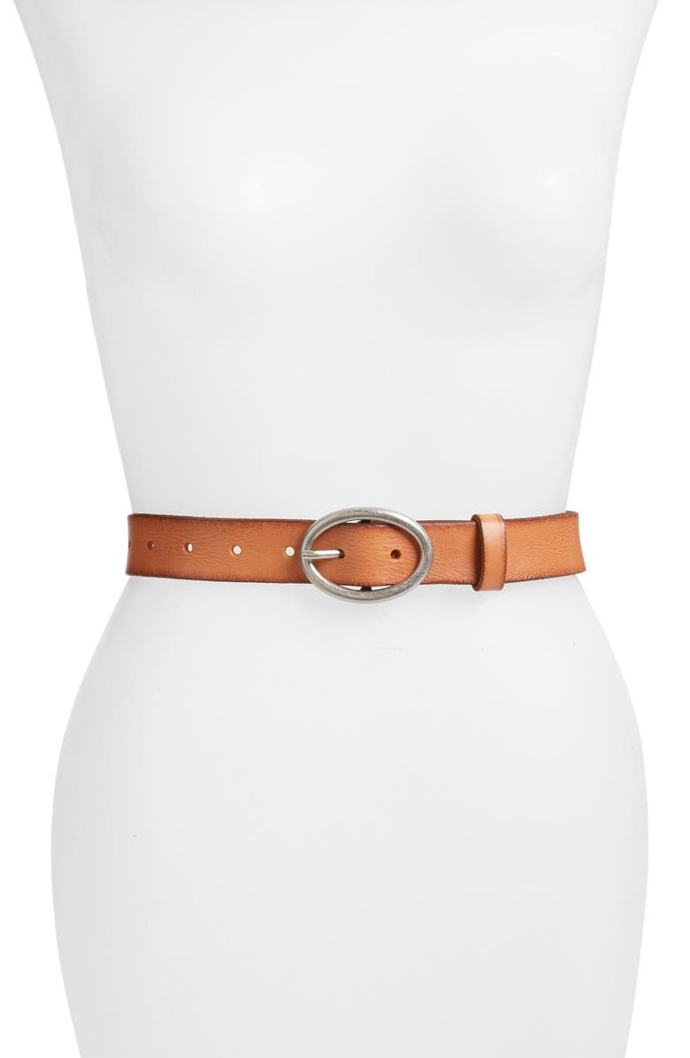 LUCKY BRAND 'The Loop' Leather Belt, Main, color, SADDLE