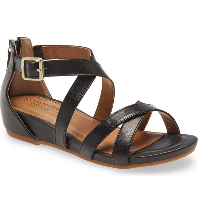 COMFORTIVA Melody Sandal, Main, color, BLACK LEATHER