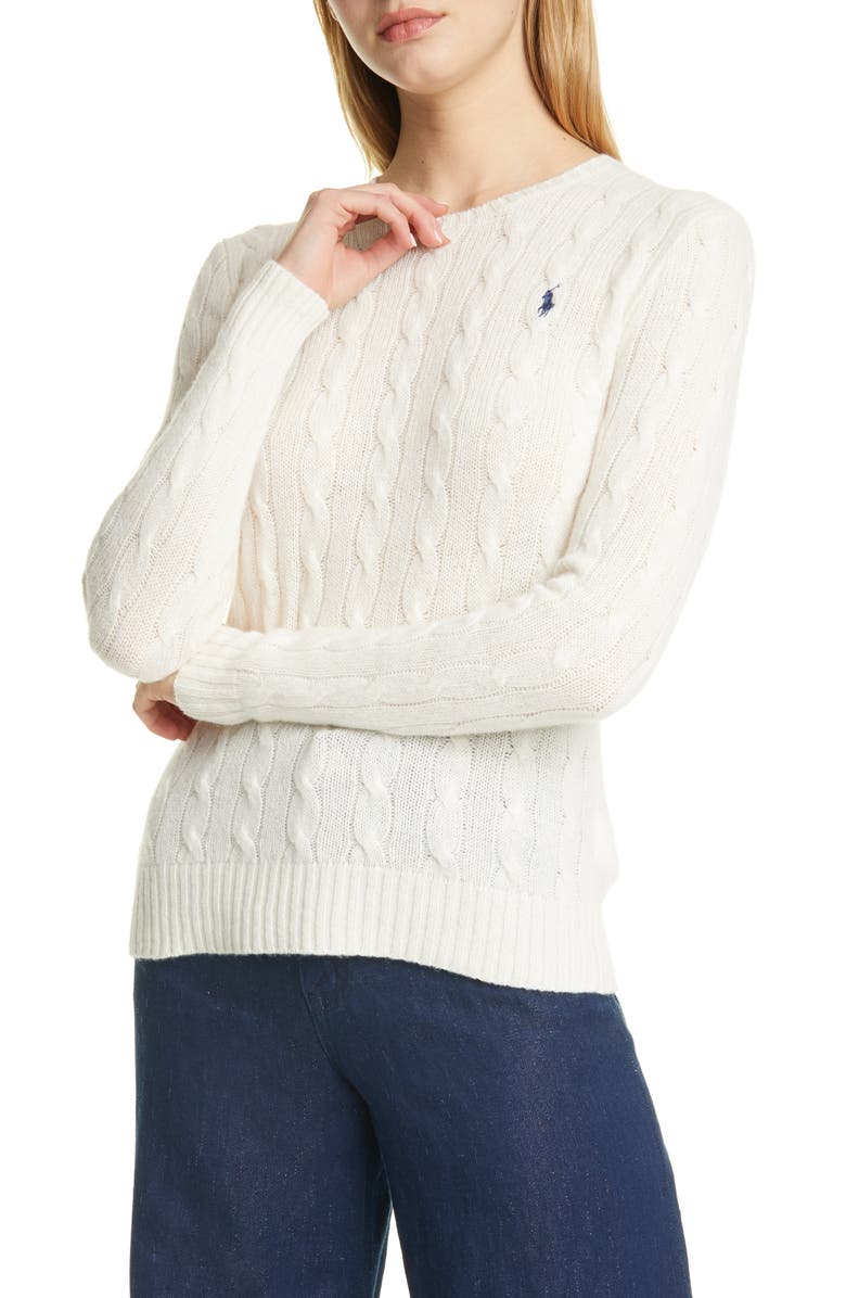 POLO RALPH LAUREN Julianna Wool & Cashmere Cable Sweater, Main, color, 900