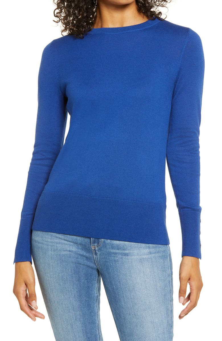 HALOGEN<SUP>®</SUP> Crewneck Sweater, Main, color, BLUE MAZARINE