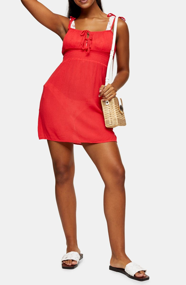 TOPSHOP Ruched Tie Shoulder Cover-Up Minidress, Main, color, RED