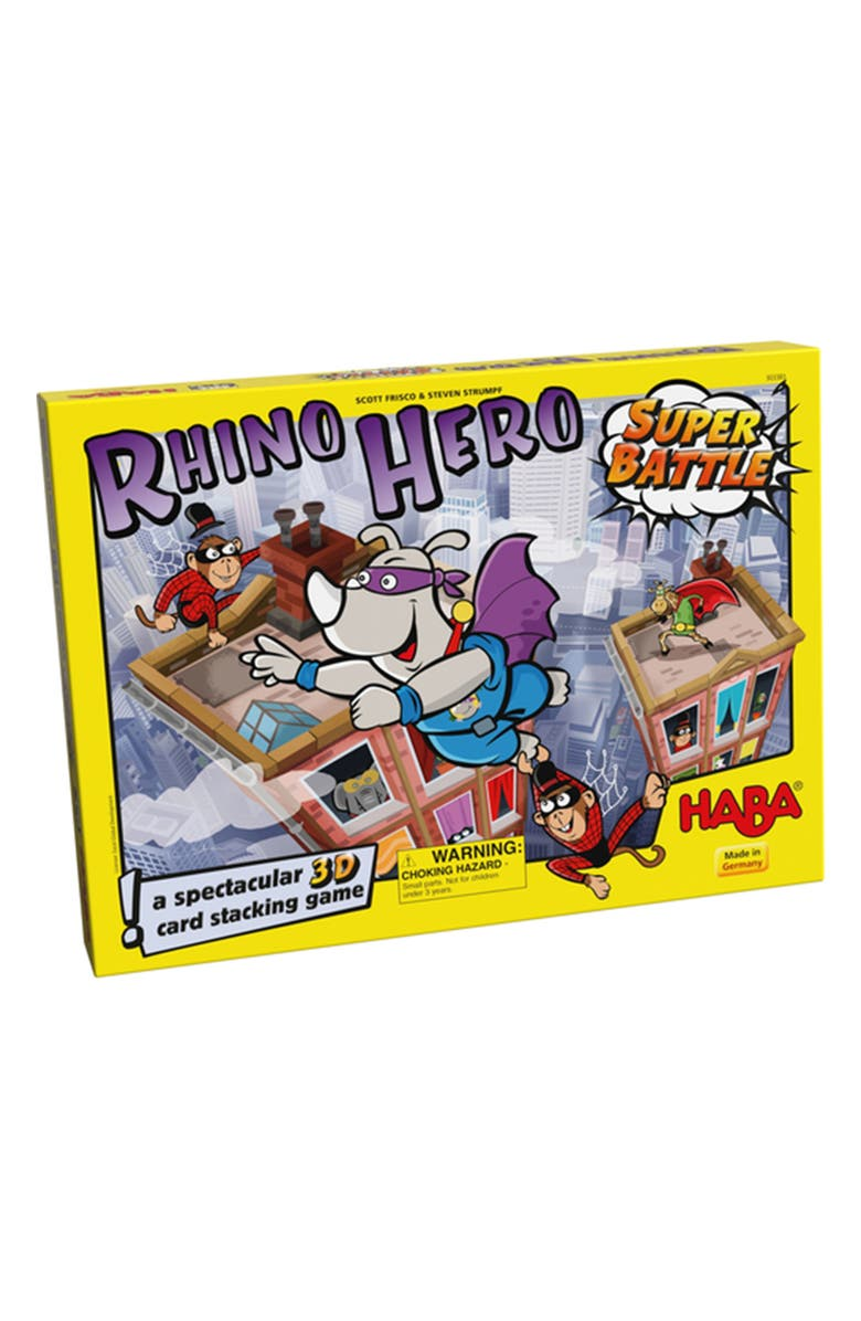 HABA Rhino Hero Super Battle Stacking Card Game, Main, color, YELLOW AND GREY