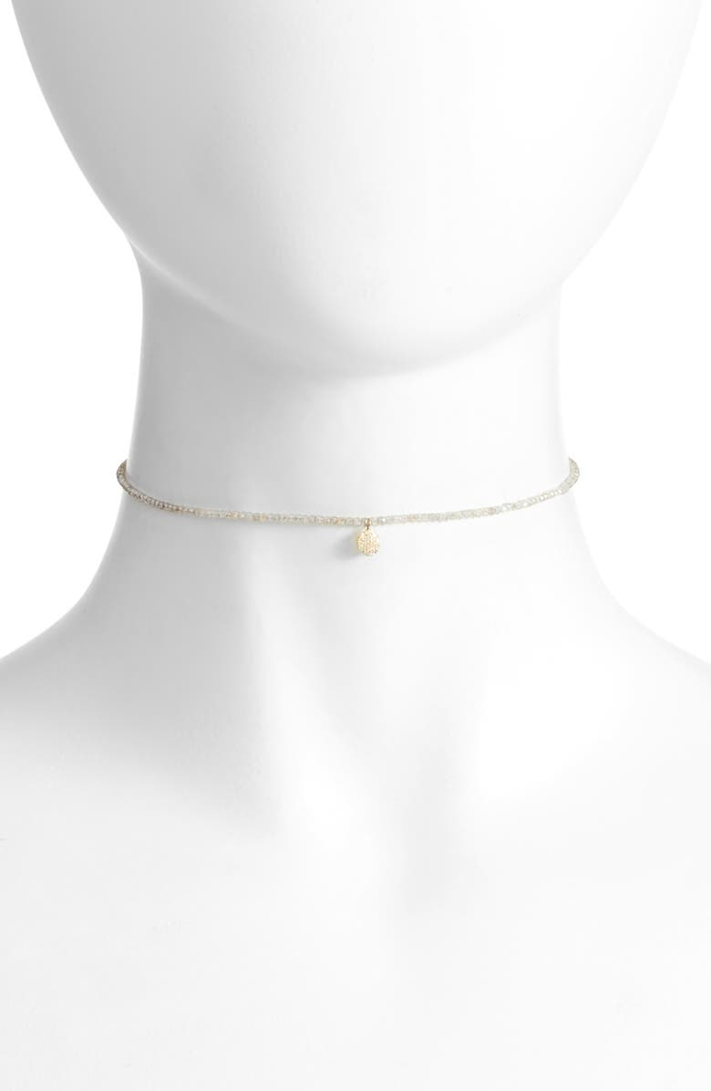 MEIRA T Diamond Charm Choker Necklace, Main, color, YELLOW GOLD