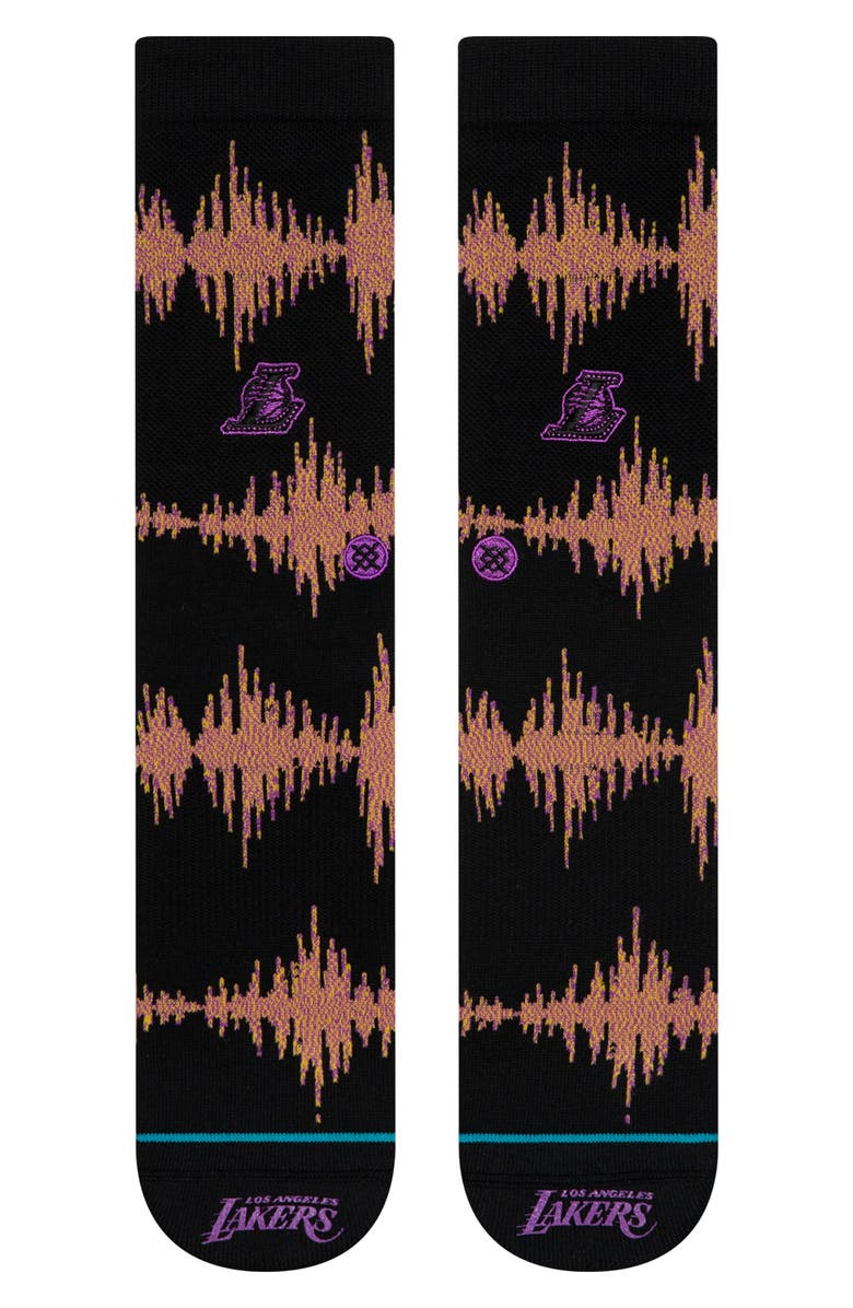 STANCE Los Angeles Lakers Crew Socks, Main, color, 001