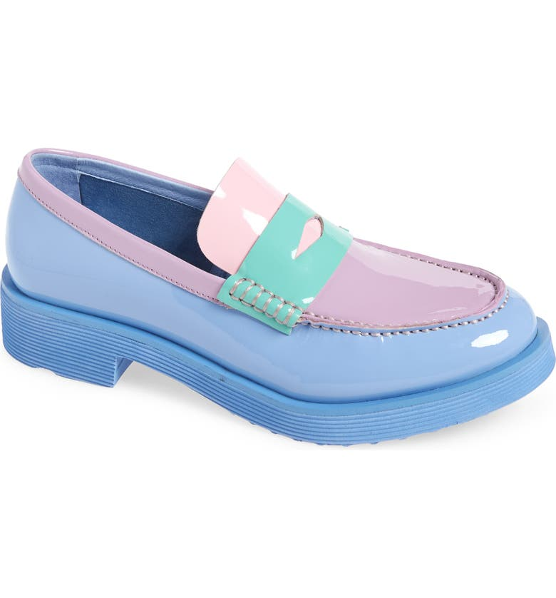 JEFFREY CAMPBELL Lenna Penny Loafer, Main, color, PERIWINKLE PATENT MULTI
