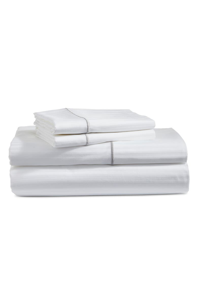 BOLL & BRANCH Embroidered Stripe 325 Thread Count Organic Cotton Sheet Set, Main, color, WHITE