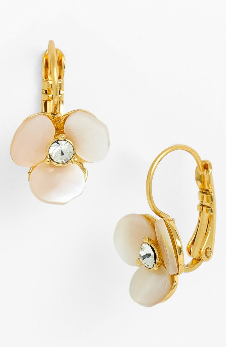 KATE SPADE NEW YORK disco pansy drop earrings, Main, color, CREAM/ CLEAR/ GOLD