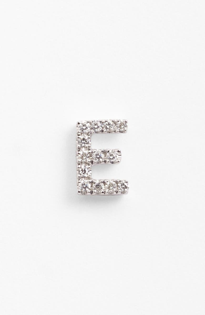 BONY LEVY Single Initial Earring, Main, color, WHITE GOLD/ E