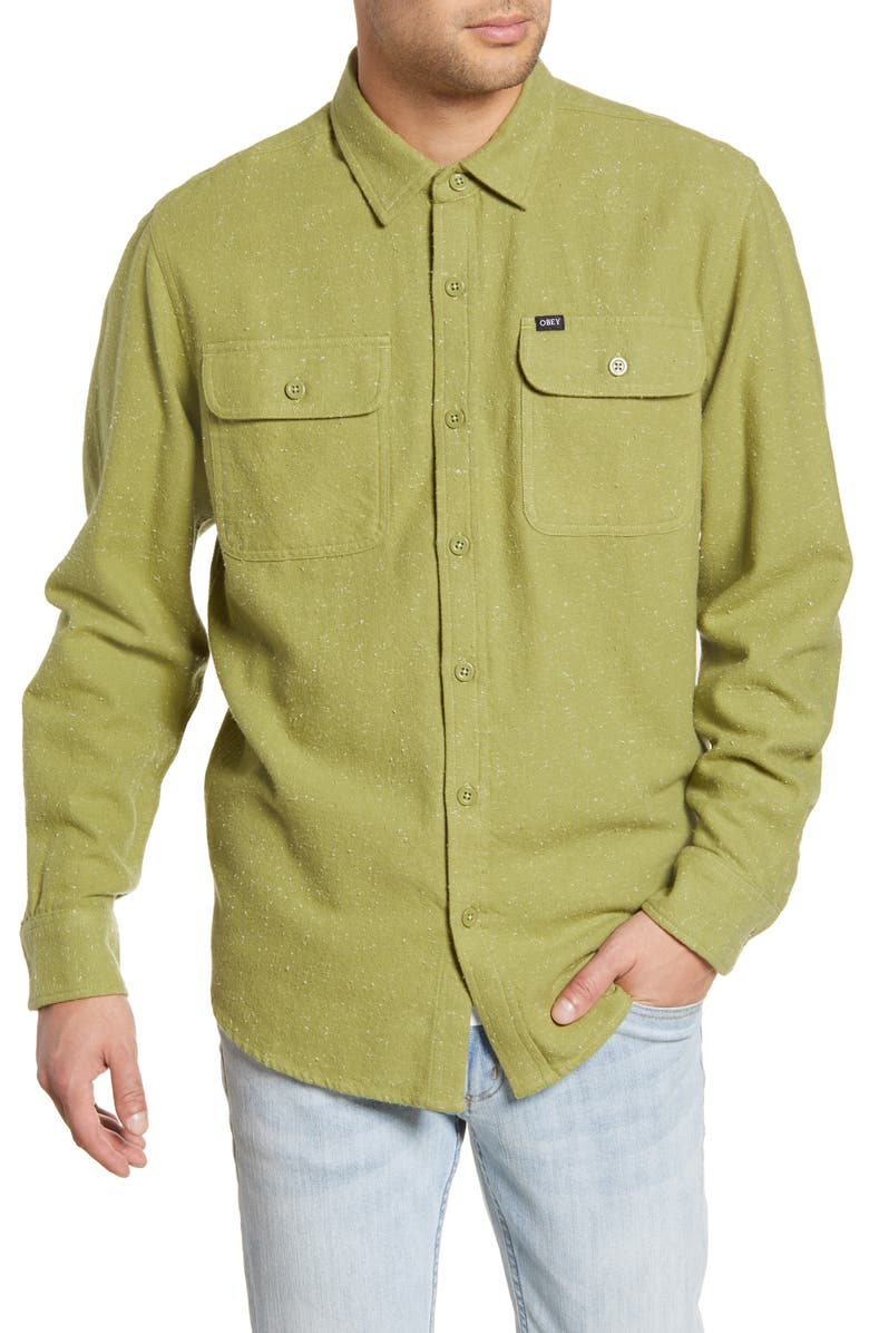 OBEY Jasper Neppy Button-Up Flannel Shirt, Main, color, 307