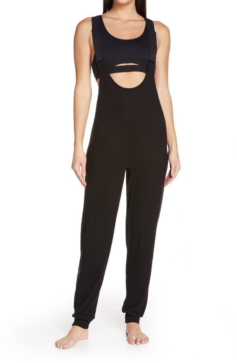 ALO Layback Romper, Main, color, BLACK