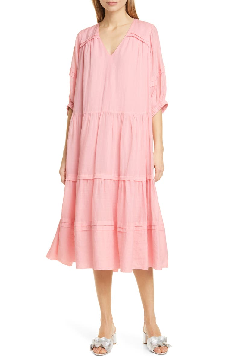SEA Lucy Pleat Detail Tiered Cotton Midi Dress, Main, color, 650