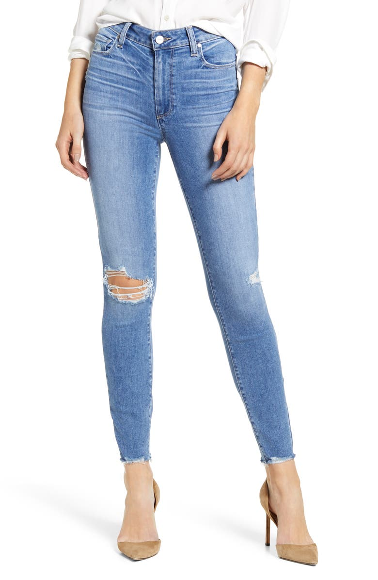 PAIGE Hoxton Ripped High Waist Ankle Skinny Jeans, Main, color, 400
