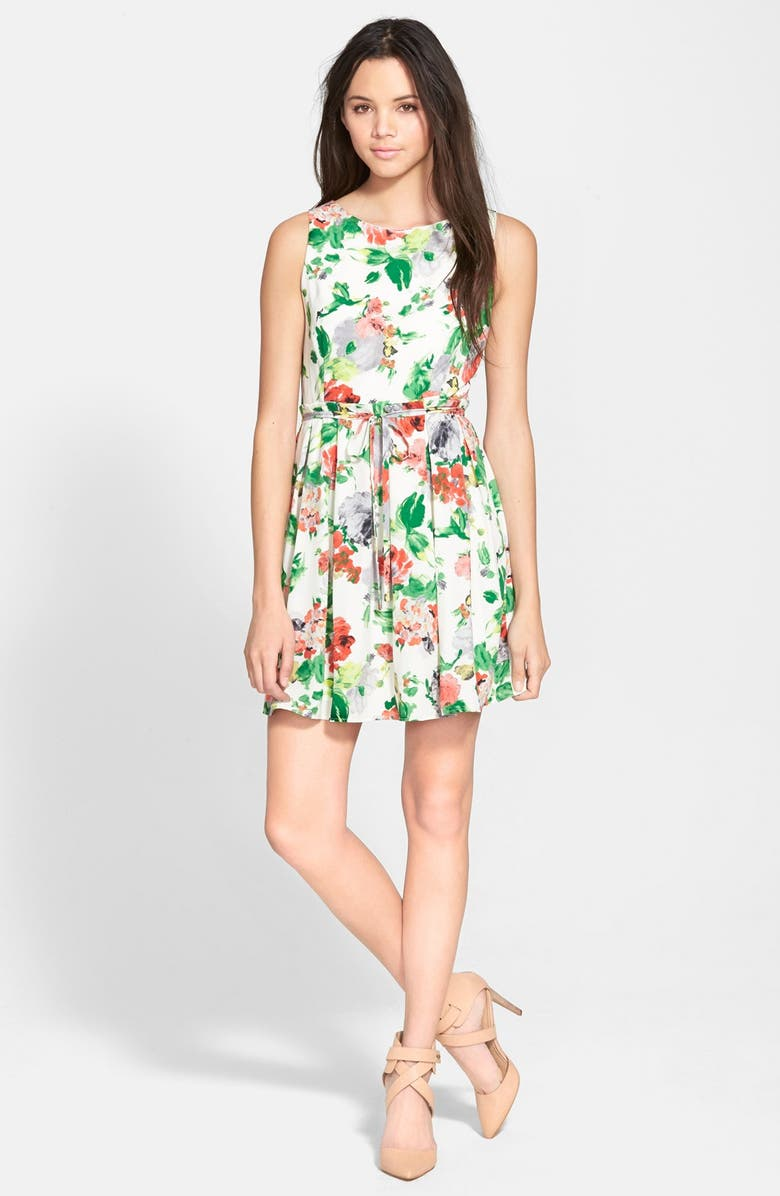 ONE CLOTHING Floral Print Skater Dress, Main, color, 900