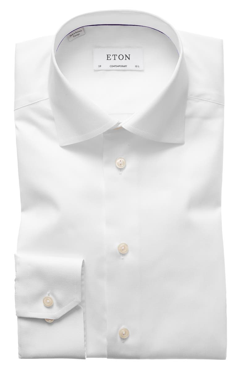 ETON Contemporary Fit Twill Dress Shirt, Main, color, WHITE