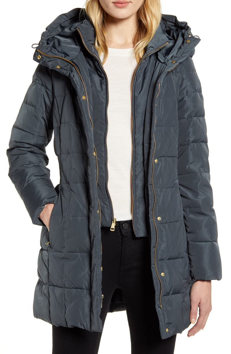 COLE HAAN SIGNATURE Cole Haan Hooded Down & Feather Jacket, Main, color, GRAPHITE