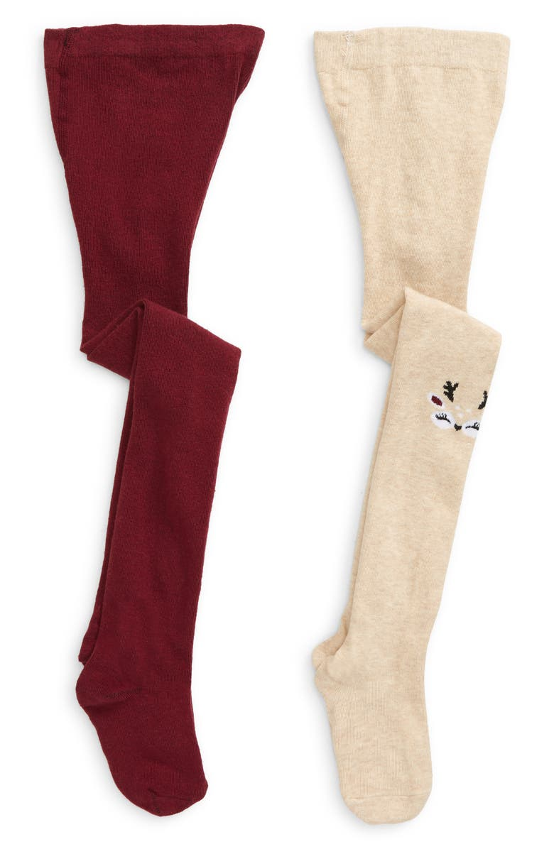 CAPELLI NEW YORK Kids' Lovely Reindeer 2-Pack Sweater Tights, Main, color, 250