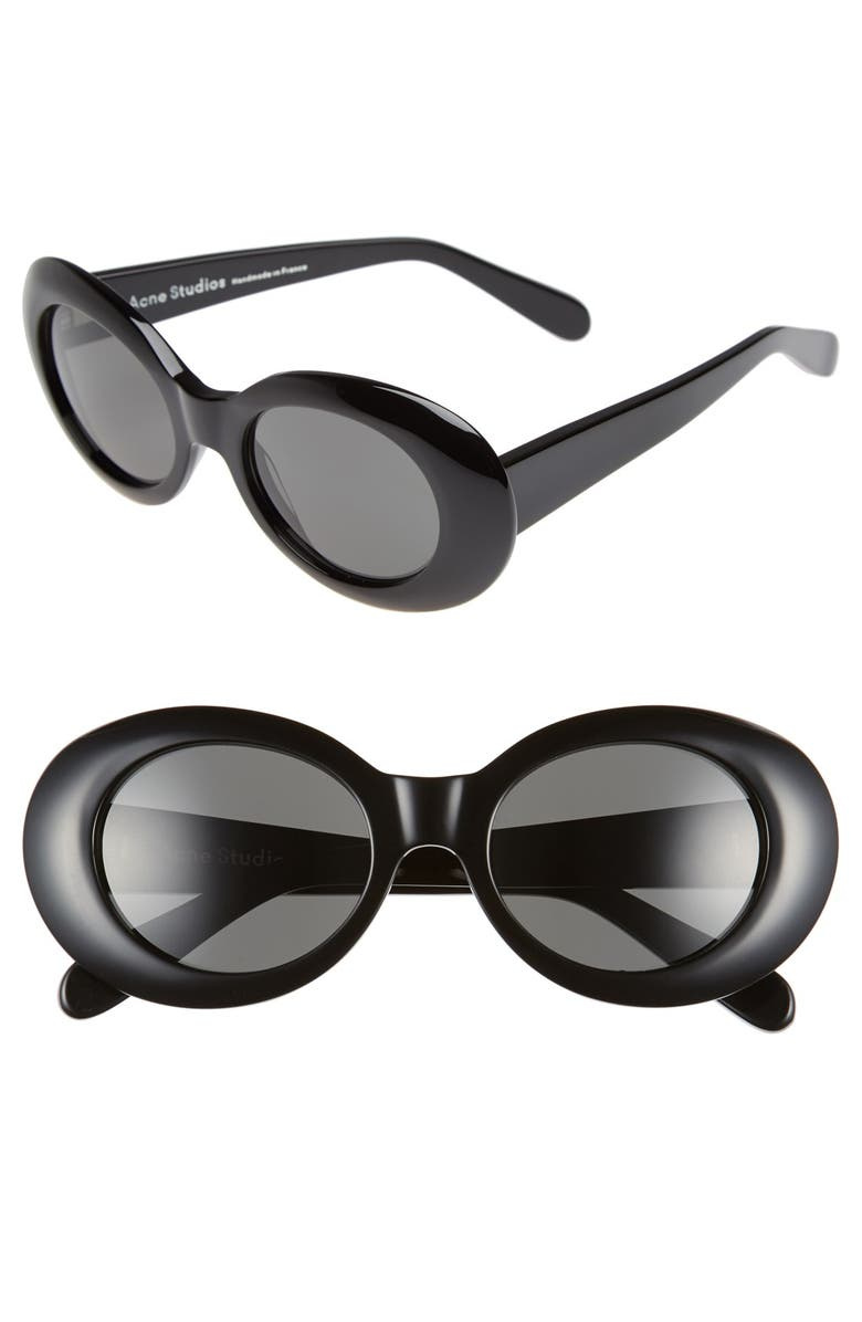 ACNE STUDIOS Mustang 49mm Oval Sunglasses, Main, color, 001