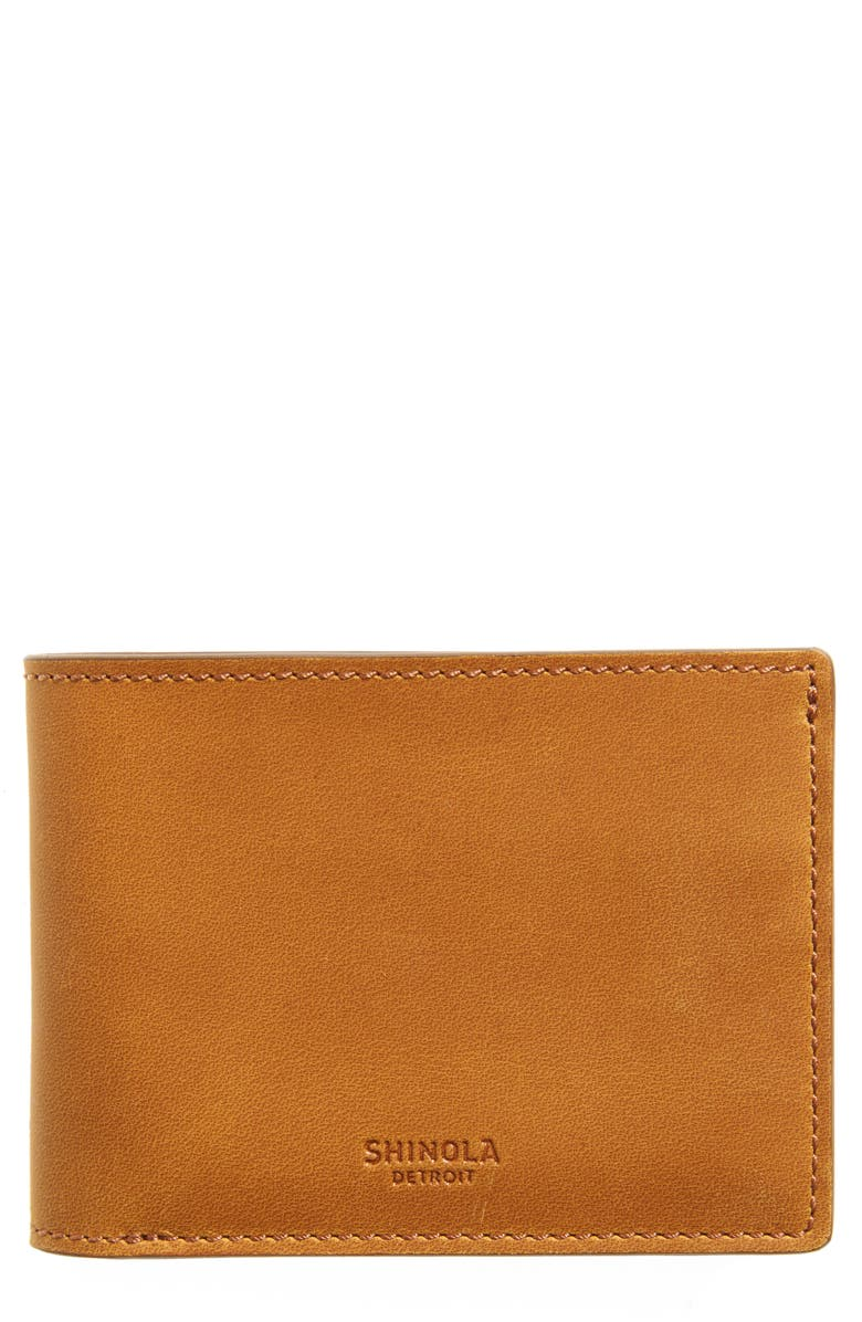 SHINOLA Navigator Leather Wallet, Main, color, HONEY