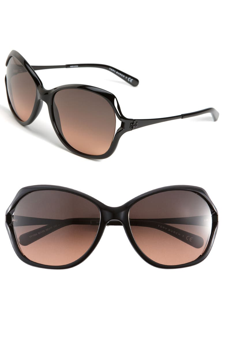 TORY BURCH 59mm Open Lens Butterfly Sunglasses, Main, color, 001
