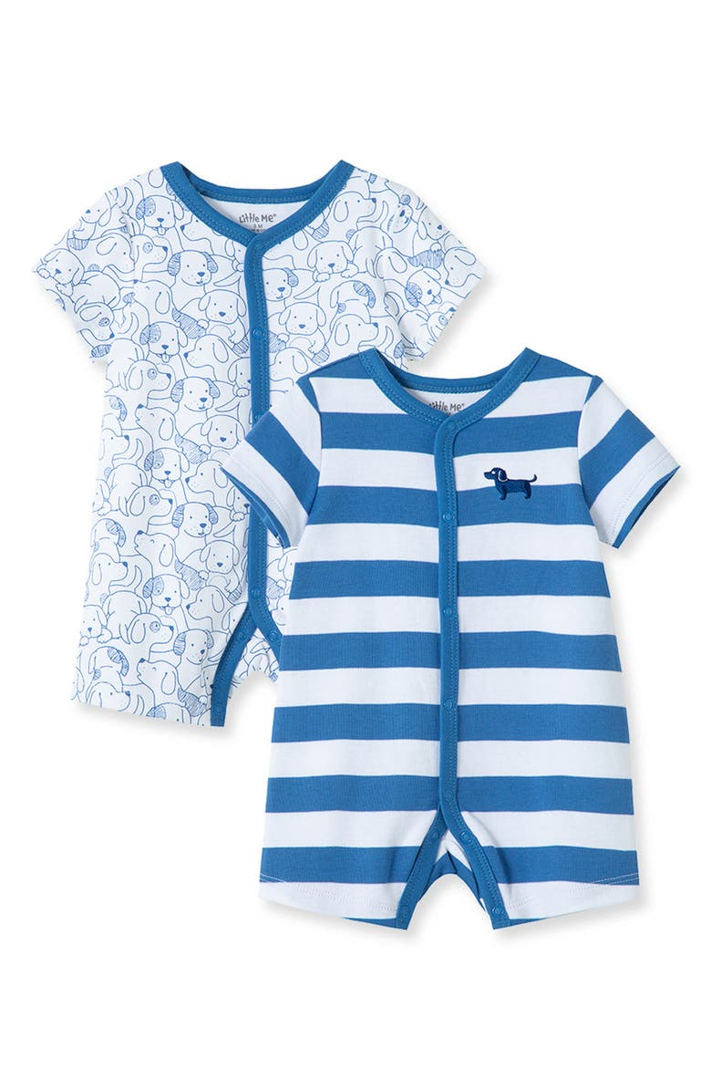 LITTLE ME Puppy 2-Pack Rompers, Main, color, BLUE