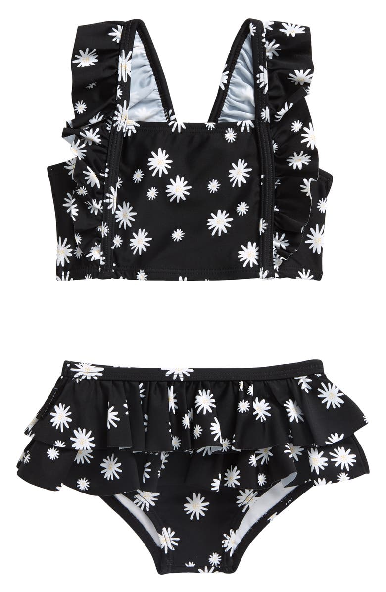 TINY TRIBE Daisy Print Two-Piece Swimsuit, Main, color, Black