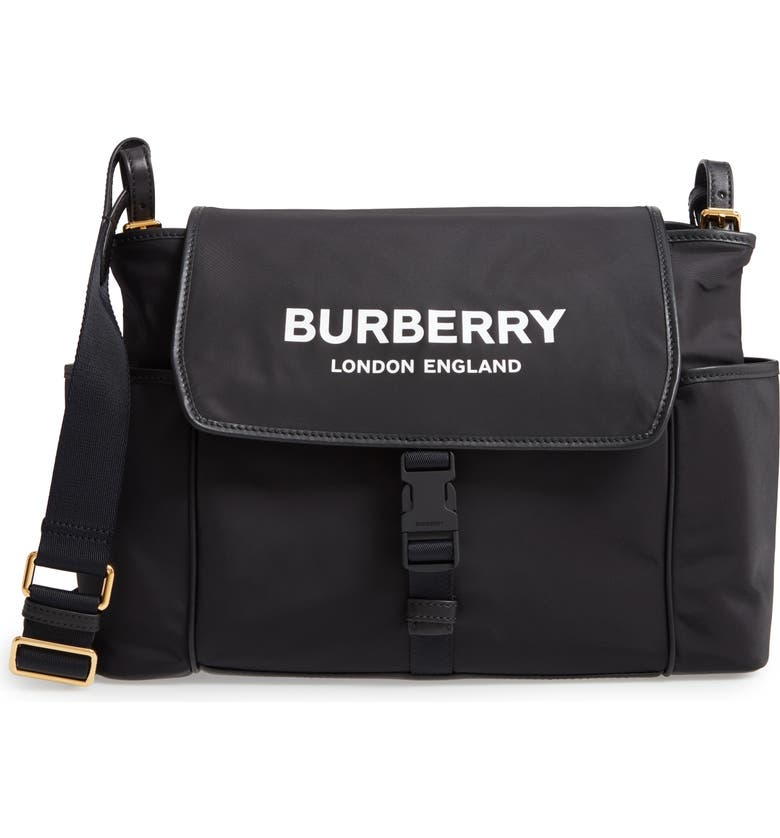 BURBERRY Flap Nylon Diaper Bag, Main, color, 001