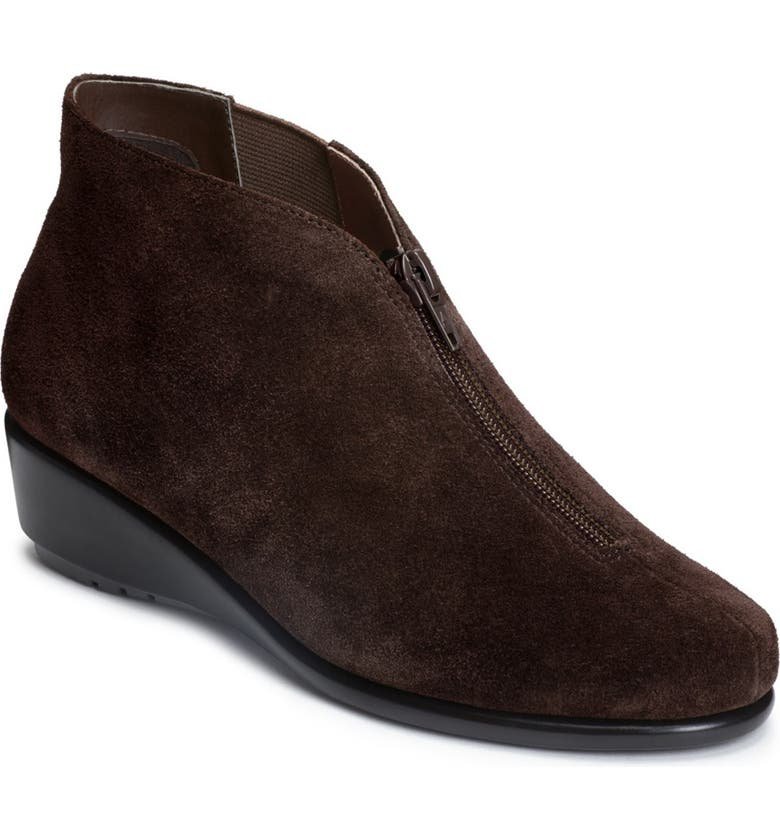 AEROSOLES Allowance Suede Ankle Bootie - Wide Width Available, Main, color, DK BROWN SUEDE