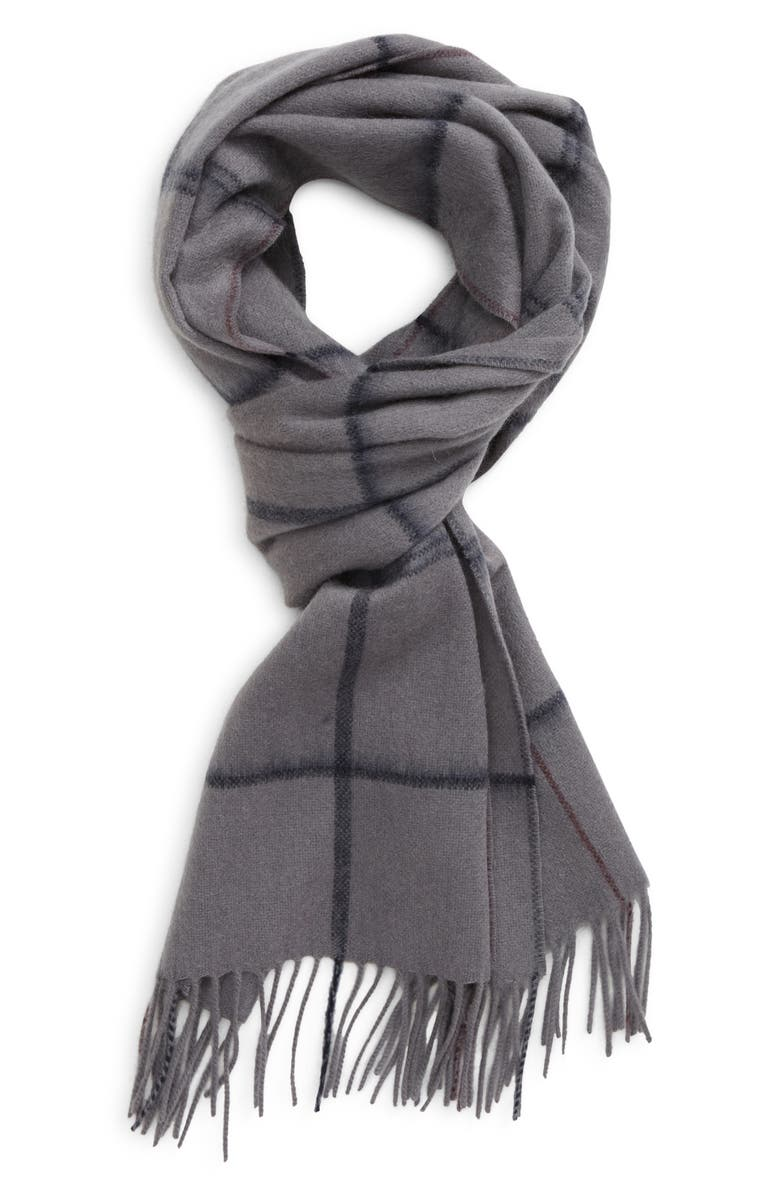 NORDSTROM Cashmere Fringe Scarf, Main, color, GREY SHADE WINDOWPANE PLAID