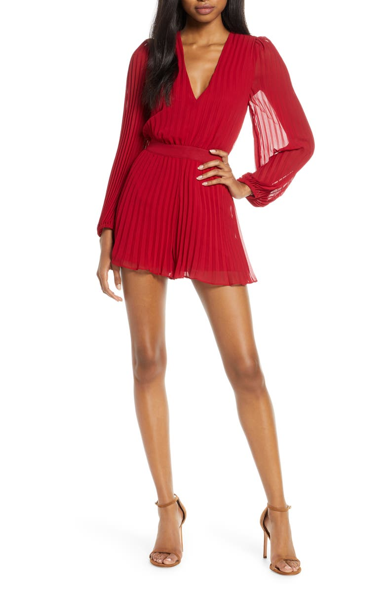 ALI & JAY Tower Bar Sunsets Long Sleeve Pleated Romper, Main, color, 639