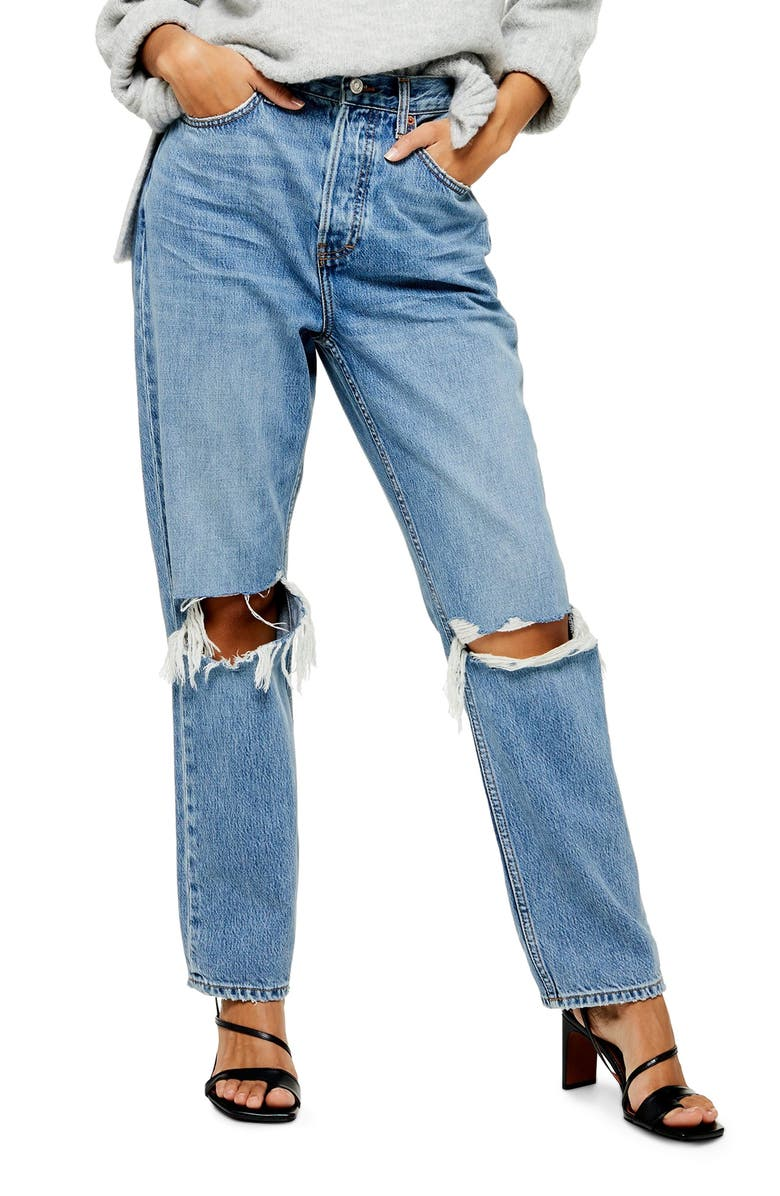 TOPSHOP Ripped High Waist Dad Jeans, Main, color, 460