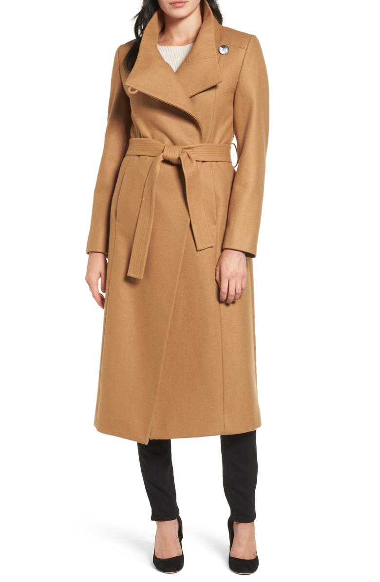 KENNETH COLE NEW YORK Wool Blend Maxi Wrap Coat, Main, color, 205