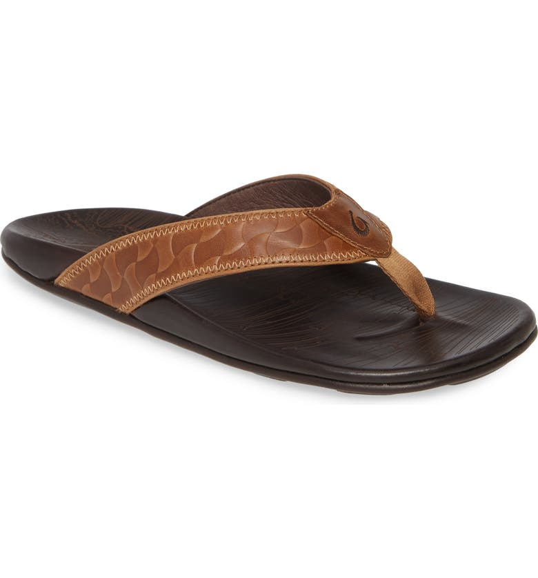 OLUKAI Hikianalia Flip Flop, Main, color, TAN/ DARK JAVA LEATHER