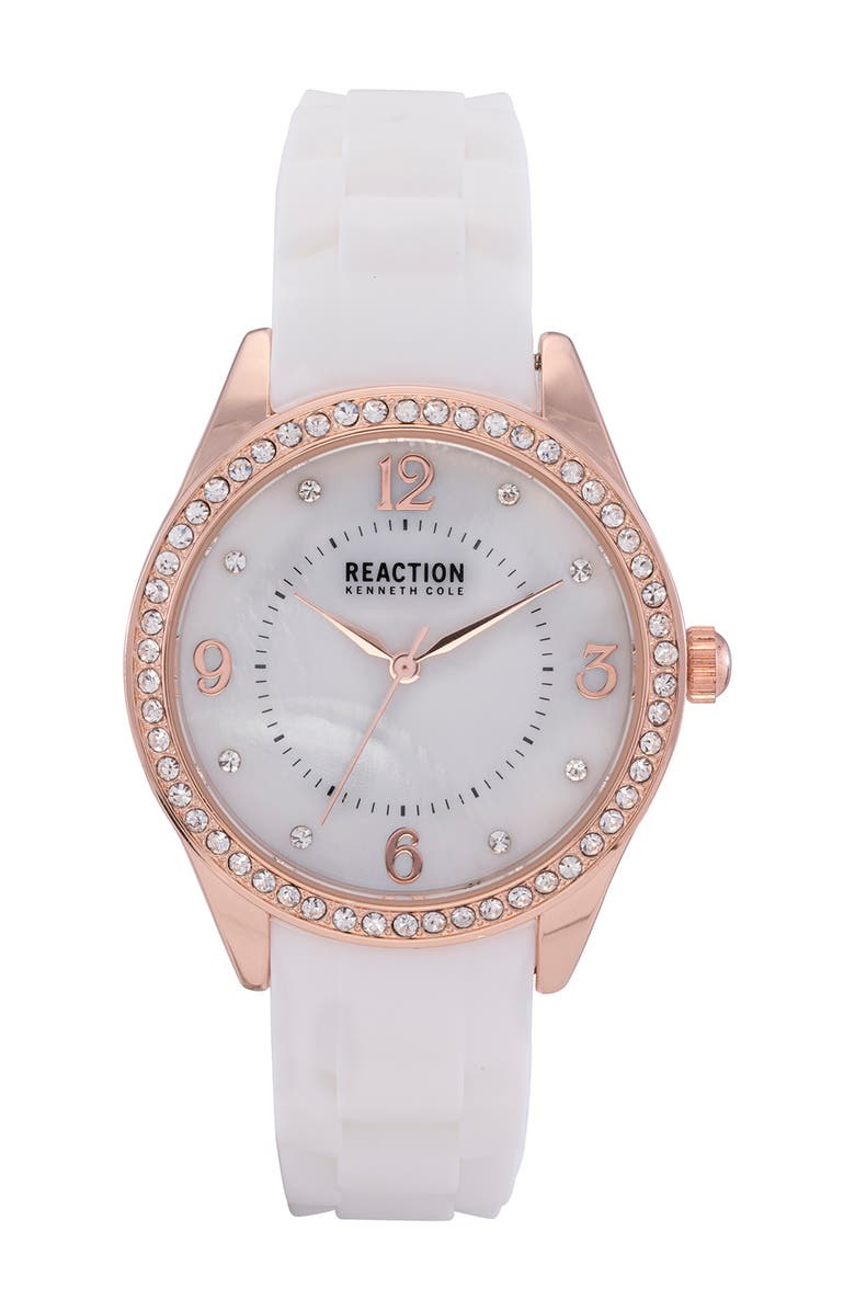 KENNETH COLE REACTION Women's Reaction 3 Hands Mother Of Pearl Light Dial Silicone Watch, 36mm, Main, color, WHITE