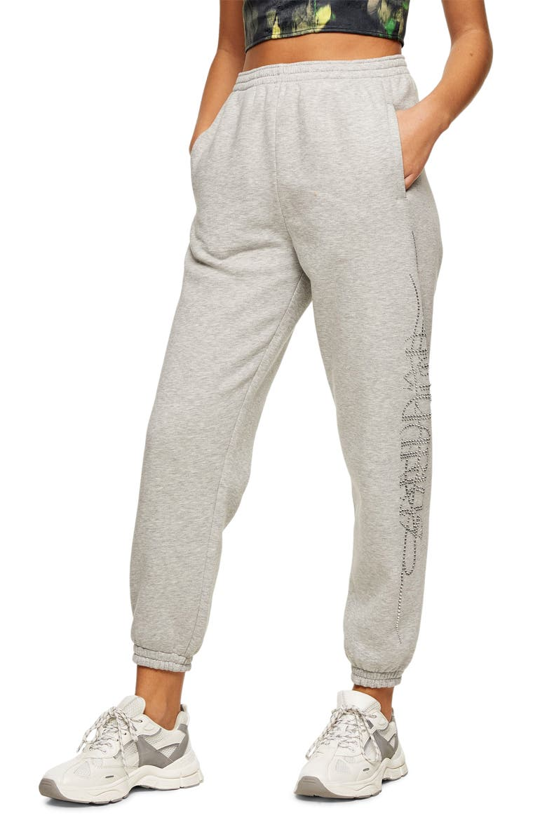 TOPSHOP Hot Fit Embellished Graphic Joggers, Main, color, Grey
