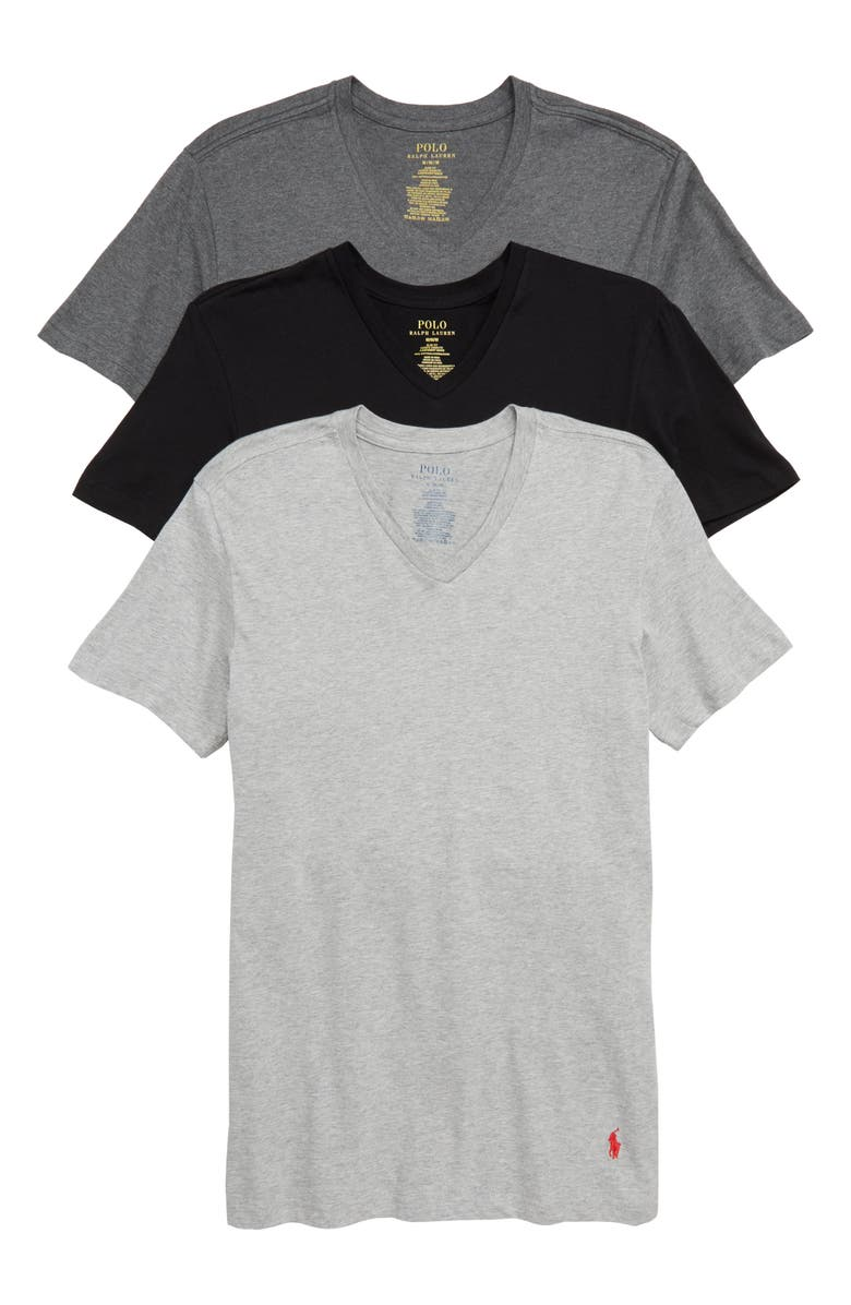 POLO RALPH LAUREN 3-Pack Slim Fit V-Neck T-Shirts, Main, color, BLACK/ GREY/ CHARCOAL