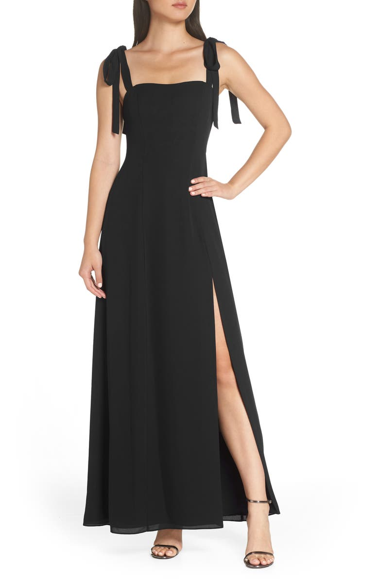 FAME AND PARTNERS Tie Shoulder A-Line Gown, Main, color, 001