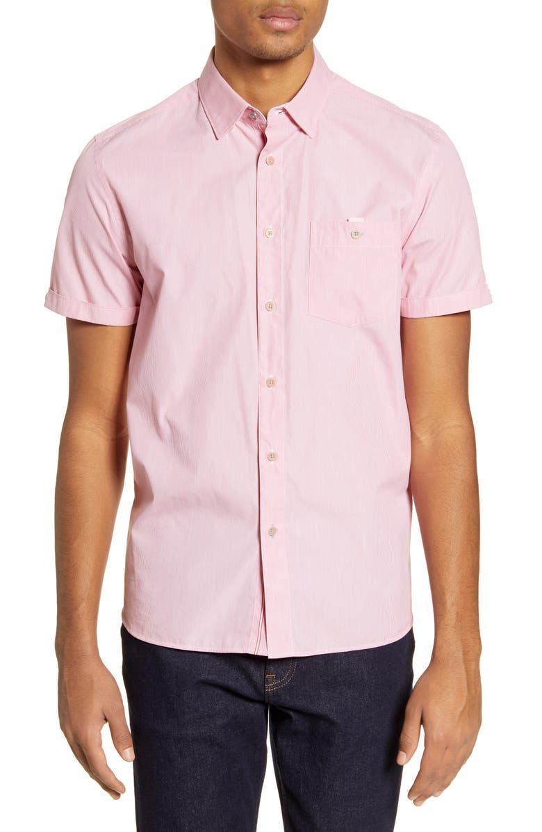 TED BAKER LONDON Sayhi Pinstripe Short Sleeve Button-Up Shirt, Main, color, 611